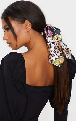 Impulse Black Leopard Scarf Print Hair Tie
