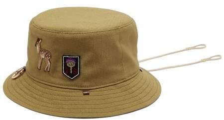 Ruslan Baginskiy Deer-patch Cotton-canvas Bucket Hat - Womens - Khaki