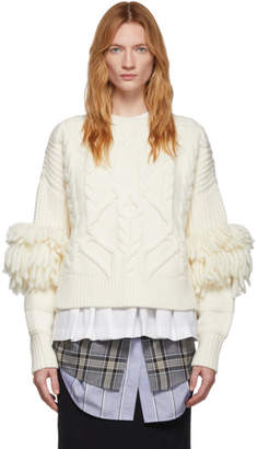 Enfold Off-White Cable Fringe Sweater