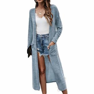 Ai.Moichien Women's Lightweight Long Knit Cardigan Slim Fit Knit Jumpers Sweater Blue M