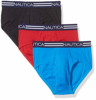 Nautica Men's Comfort Cotton Underwear Fly Front Brief-Multi Pack