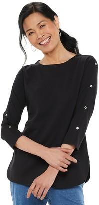 Croft & Barrow Women's Button-Sleeve Top