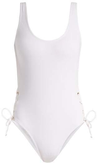 Melissa Odabash Venice Scoop-neck Lace-side Swimsuit - Womens - White
