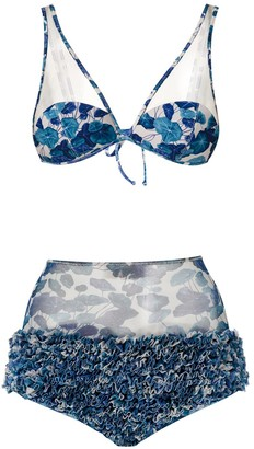 Adriana Degreas High Waisted Ruffle Bikini Set