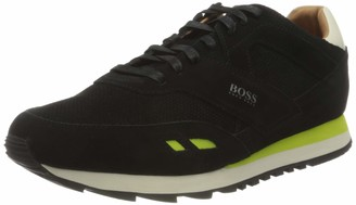 HUGO BOSS Mens Parkour Runn Low-top Trainers in Suede with Contrast Details Grey