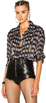 Off-White for FWRD Silk Shirt in Abstract,Brown,Geometric Print.