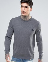 Pretty Green Crew Jumper Slim Fit Small Logo In Charcoal