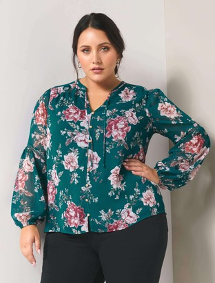 Forever New Melissa Curve Button-Up Blouse - Emerald Garden - 16