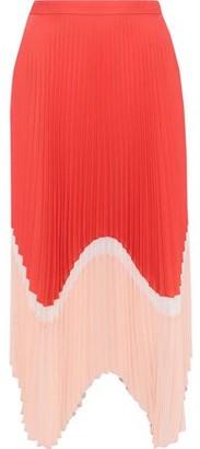 Markus Lupfer Cloe Pleated Color-block Crepe De Chine Skirt