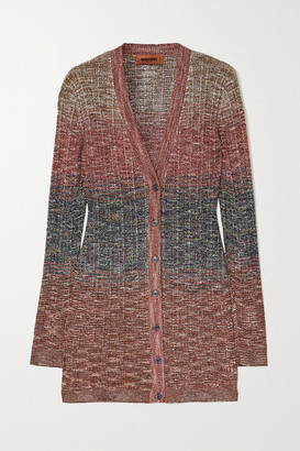 Missoni Degrade Metallic Crochet-knit Cardigan - Red
