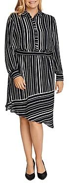 Vince Camuto Plus Striped Asymmetric-Hem Dress
