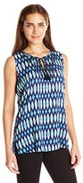 NYDJ Women's Sleeveless Printed Embroidered Blouse