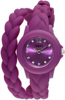 JCPenney TKO ORLOGI Womens Crystal-Accent Braided Purple Silicone Strap Wrap Watch