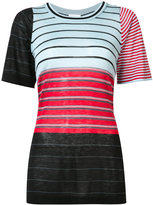 Sonia Rykiel striped panel T-shirt - women - Silk/Cotton - M