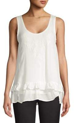 Democracy Asymmetric Ruffle Trimmed Tank Top