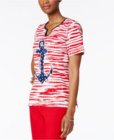 Alfred Dunner Lady Liberty Collection Anchor Graphic Top