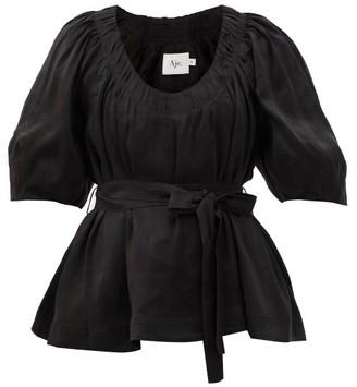 Aje Psychedelia Belted Linen-blend Blouse - Black