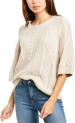 Raffi 3/4-Sleeve Mixed Cable Sweater