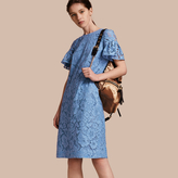 Burberry Macramé Lace Shift Dress with Ruffle Sleeves