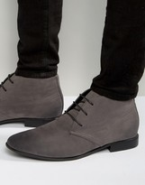 Asos Lace Up Chukka Boots In Gray Faux Suede