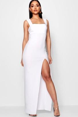 boohoo Square Neck Tie Side Split Maxi Dress