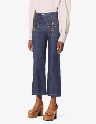 See by Chloe Flared mid-rise stretch-denim jeans