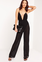 Missguided Sheer Wide Leg Pants Black