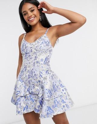 ASOS DESIGN premium jacquard corseted ruffle side mini dress in blue