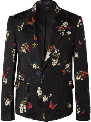 Amiri Black Slim-Fit Printed Floral-Jacquard Suit Jacket