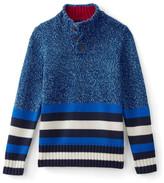 Lands' End Stripe Mock Collar Sweater (Big Boys)