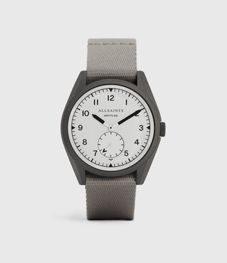 AllSaints Untitled II Gunmetal Stainless Steel and Grey Nylon Watch
