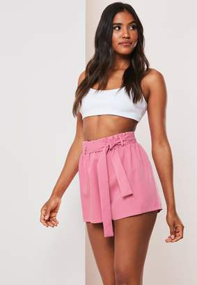 Missguided Pink Co Ord Tailored Paperbag Waist Shorts