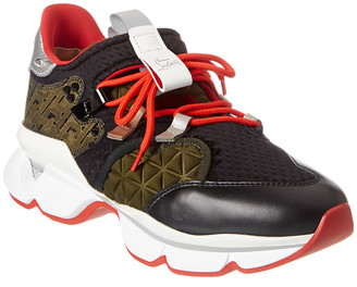 Christian Louboutin Red Runner Leather & Suede-Trim Sneaker
