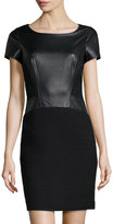 Lafayette 148 New York Gwendoline Faux-Leather Inset Boucle Dress, Black