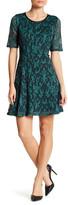 Marina Mesh Paisley Fit & Flare Dress (Petite)