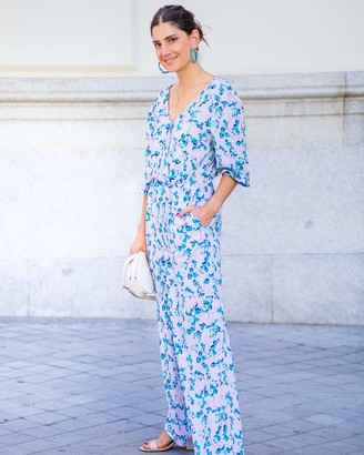 The Drop Women's Floral Print Crossover Jumpsuit by @balamoda XS