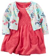 Carter's Baby Girl Crochet Lace Bodysuit Dress & Floral Cardigan Set