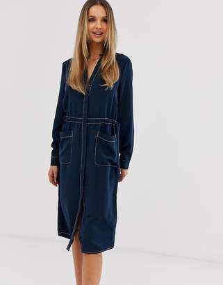 Vila contrast stitching shirt dress-Navy