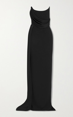 Alex Perry Kirby Strapless Draped Satin-crepe Gown - Black