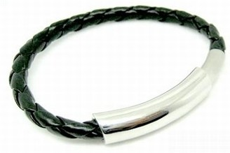 CORED c35 Bracelet Leather Braided with Stainless Steel Clasp Black