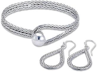 Samuel B. Sterling Silver 2-Piece Snake Chain Drop Earrings & Bangle Bracelet Set