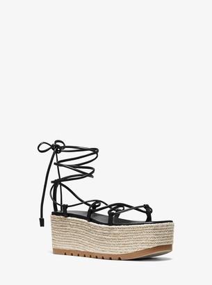 Michael Kors Mabal Leather Flatform Sandal