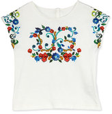 Dolce & Gabbana Floral Majolica Jersey Tee, White, Size 2-6