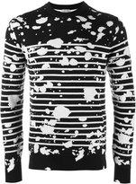 Christian Dior paint splatter stripe sweater - men - Virgin Wool - M