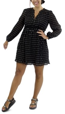 Crystal Doll Juniors' Long-Sleeve Polka-Dot Dress