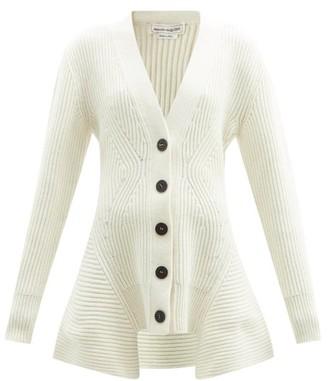 Alexander McQueen Peplum-hem Wool-blend Cardigan - Ivory