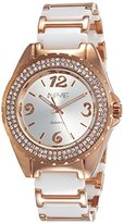 August Steiner Women's AS8036WTR Crystal Accented Rose Gold & White Ceramic Bracelet Watch