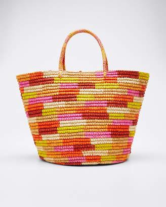 Sensi Studio Rainbow Woven Straw Tote Bag