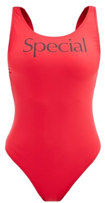 More Joy By Christopher Kane - More Joy Special-print Scoop-neck Swimsuit - Red
