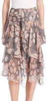 Jason Wu Ruffled Floral Chiffon Skirt